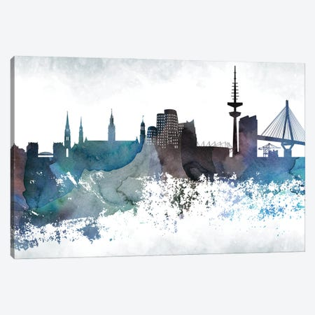 Dusseldorf Bluish Skyline Canvas Print #WDA662} by WallDecorAddict Art Print
