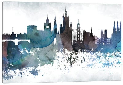 Edinburgh Bluish Skyline Canvas Art Print