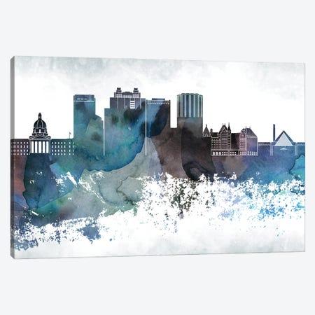 Edmonton Bluish Skyline Canvas Print #WDA664} by WallDecorAddict Canvas Art
