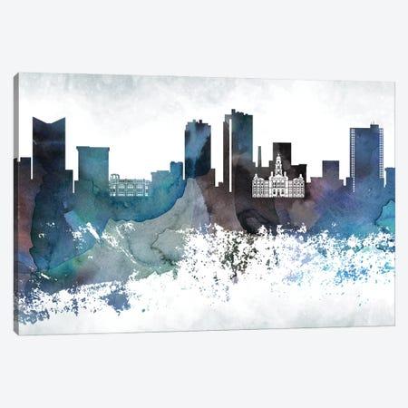 Fort Worth Bluish Skyline Canvas Print #WDA666} by WallDecorAddict Canvas Art