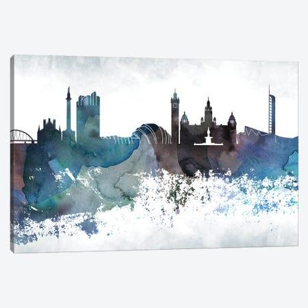 Glasgow Bluish Skyline Canvas Print #WDA668} by WallDecorAddict Art Print