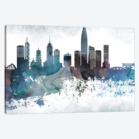 Hong Kong Bluish Skyline Canvas Print #WDA674} by WallDecorAddict Art Print