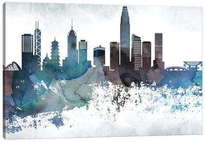 Hong Kong Bluish Skyline Canvas Art Print
