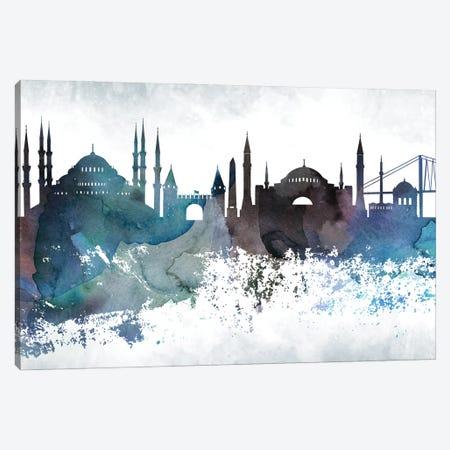Istanbul Bluish Skyline Canvas Print #WDA675} by WallDecorAddict Art Print