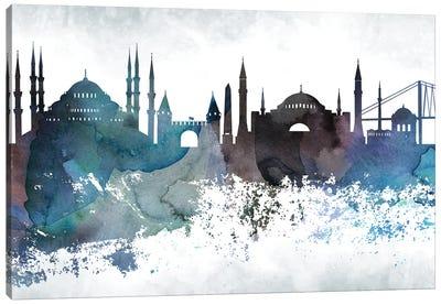 Istanbul Bluish Skyline Canvas Art Print