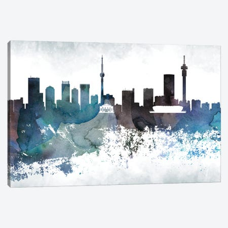 Johannesburg Bluish Skyline Canvas Print #WDA677} by WallDecorAddict Canvas Art Print