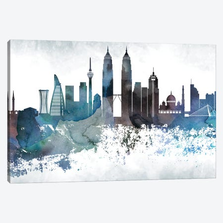 Kuala Lumpur Bluish Skyline Canvas Print #WDA678} by WallDecorAddict Canvas Wall Art