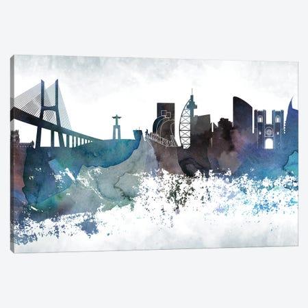 Lisbon Bluish Skyline Canvas Print #WDA682} by WallDecorAddict Canvas Art Print