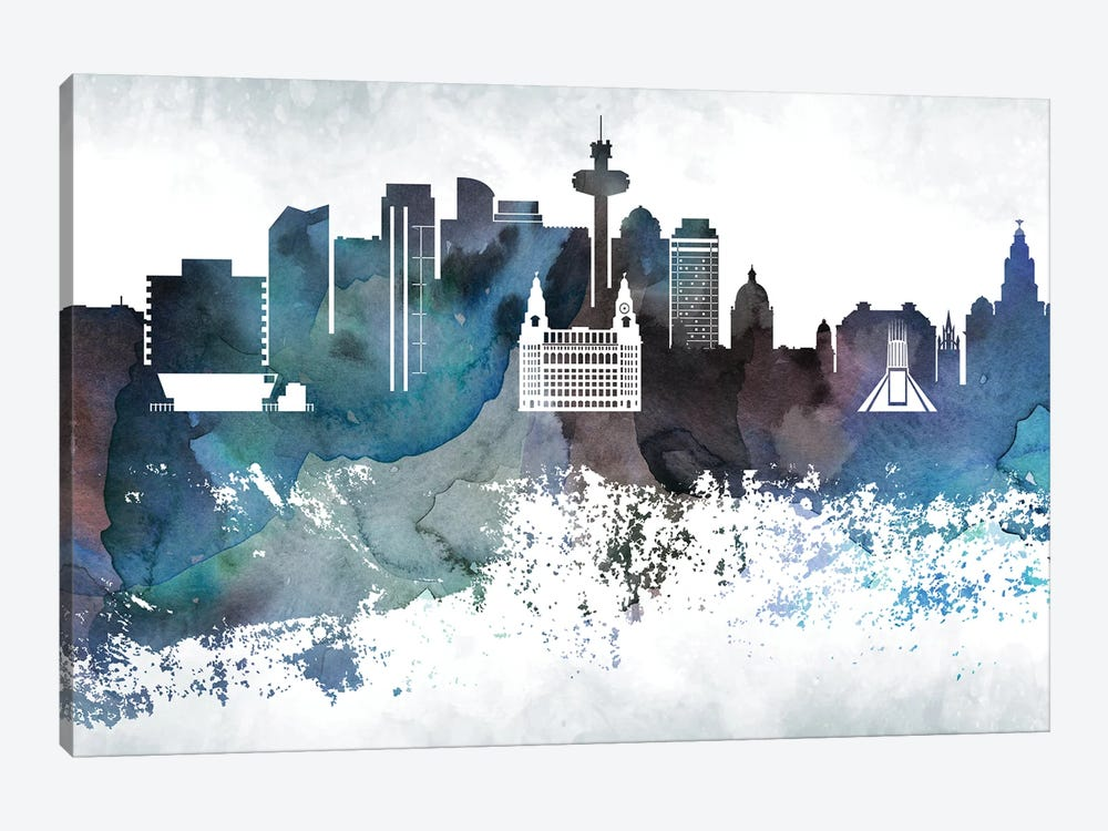 Liverpool Bluish Skyline by WallDecorAddict 1-piece Canvas Art