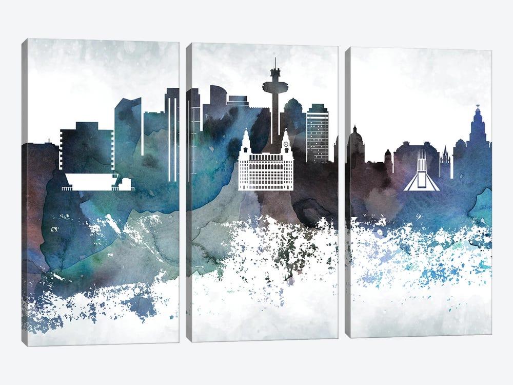 Liverpool Bluish Skyline by WallDecorAddict 3-piece Canvas Art