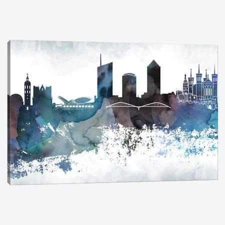 Lyon Bluish Skyline Canvas Print #WDA684} by WallDecorAddict Canvas Wall Art