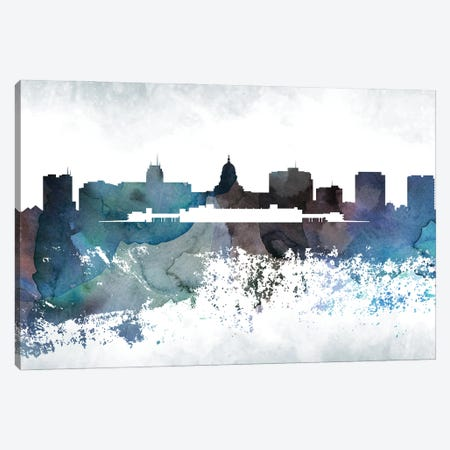 Madison Bluish Skyline Canvas Print #WDA685} by WallDecorAddict Canvas Art