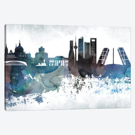 Madrid Bluish Skylines Canvas Print #WDA686} by WallDecorAddict Canvas Artwork