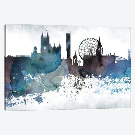 Manchester Bluish Skyline Canvas Print #WDA687} by WallDecorAddict Canvas Art