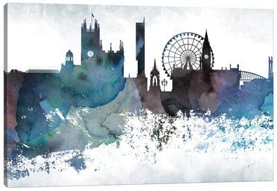 Manchester Bluish Skyline Canvas Art Print
