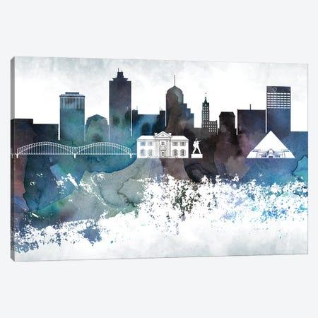 Memphis Bluish Skyline Canvas Print #WDA689} by WallDecorAddict Canvas Print