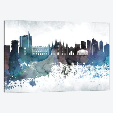 Milan Bluish Skyline Canvas Print #WDA690} by WallDecorAddict Canvas Art