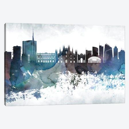 Milan Bluish Skyline Canvas Print #WDA690} by WallDecorAddict Canvas Art