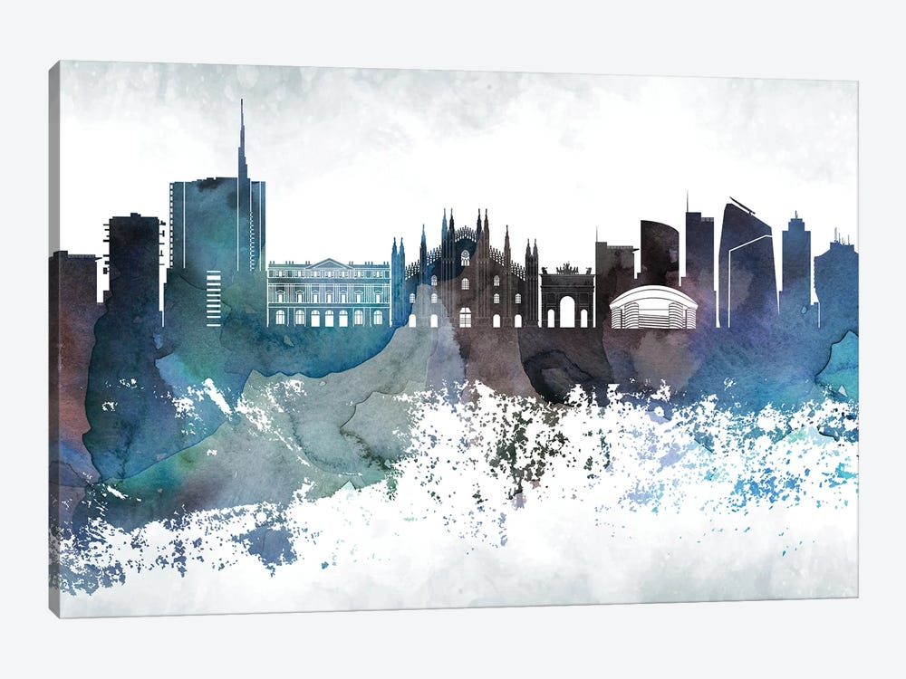 Milan Bluish Skyline 1-piece Canvas Wall Art