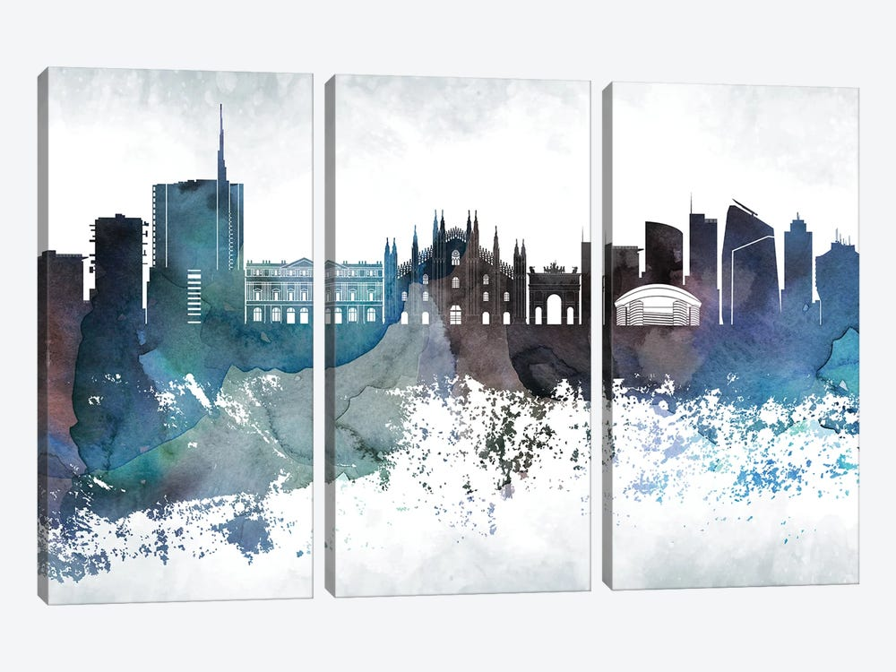 Milan Bluish Skyline 3-piece Canvas Art