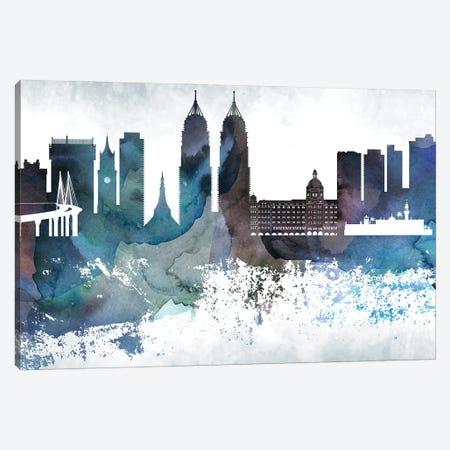Mumbai Bluish Skyline Canvas Print #WDA693} by WallDecorAddict Canvas Wall Art