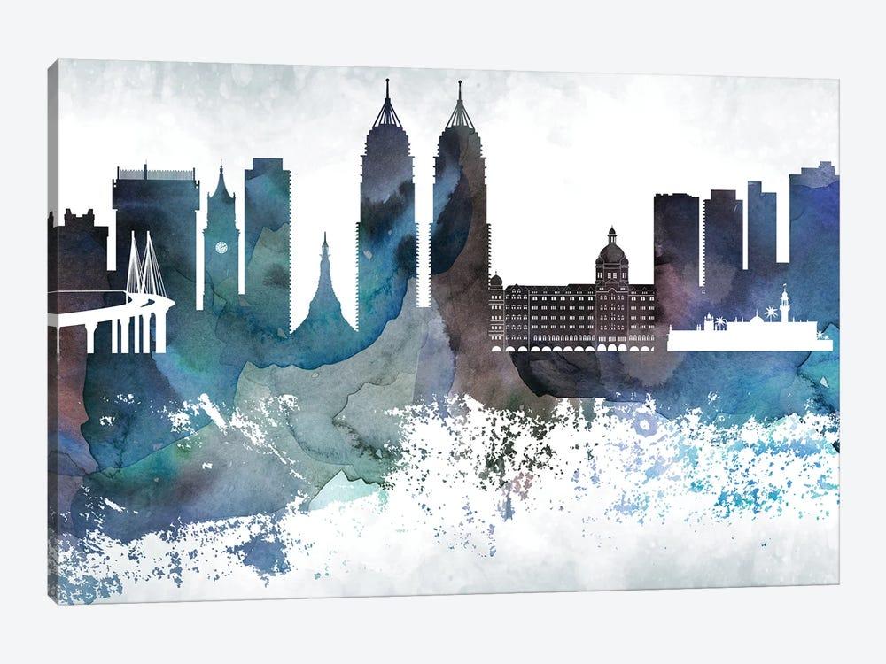 Mumbai Bluish Skyline by WallDecorAddict 1-piece Canvas Art Print