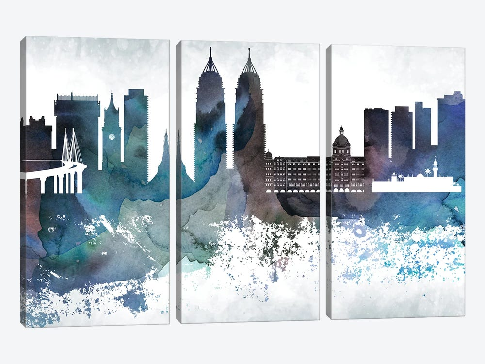 Mumbai Bluish Skyline by WallDecorAddict 3-piece Canvas Art Print