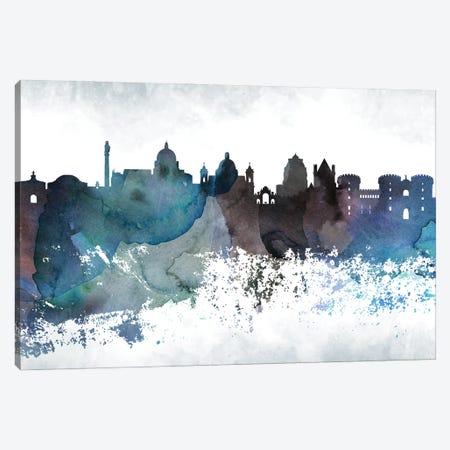 Naples Bluish Skyline Canvas Print #WDA695} by WallDecorAddict Canvas Print