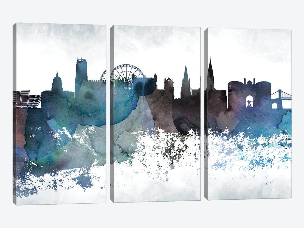 Nottingham Bluish Skyline by WallDecorAddict 3-piece Canvas Artwork