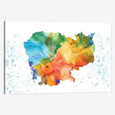 Cambodia Colorful Map Canvas Print #WDA69} by WallDecorAddict Art Print