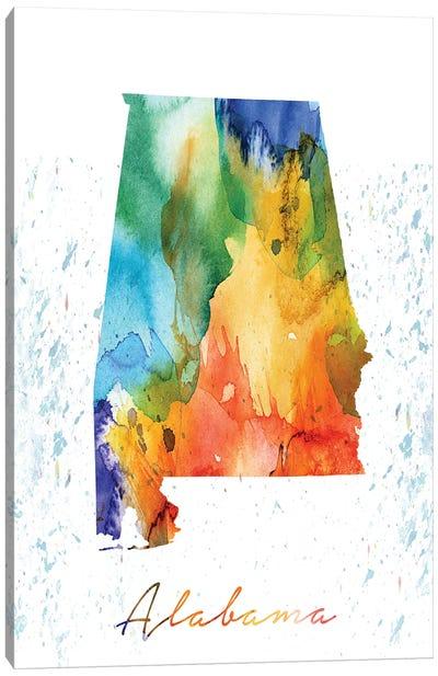 Alabama State Colorful Canvas Art Print