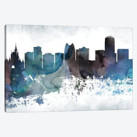 Orlando Bluish Skyline Canvas Print #WDA701} by WallDecorAddict Canvas Art
