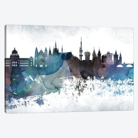 Prague Bluish Skyline Canvas Print #WDA706} by WallDecorAddict Canvas Art Print