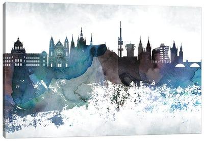 Prague Bluish Skyline Canvas Art Print