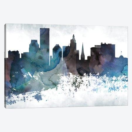 Providence Bluish Skyline Canvas Print #WDA707} by WallDecorAddict Canvas Art Print