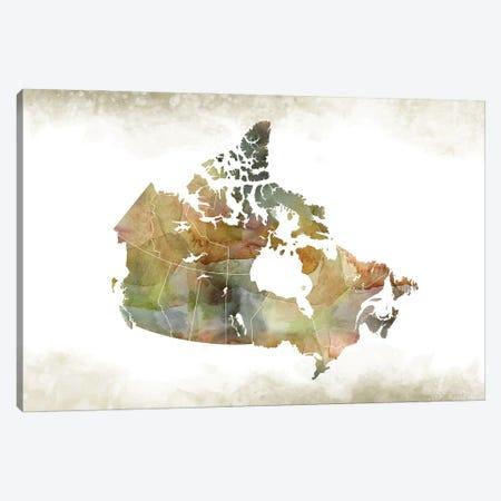 Canada Greenish Map Canvas Print #WDA70} by WallDecorAddict Canvas Art