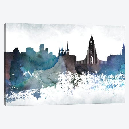 Reykjavik Bluish Skylines Canvas Print #WDA711} by WallDecorAddict Canvas Print