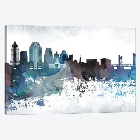Sacramento Bluish Skyline Canvas Print #WDA713} by WallDecorAddict Canvas Print
