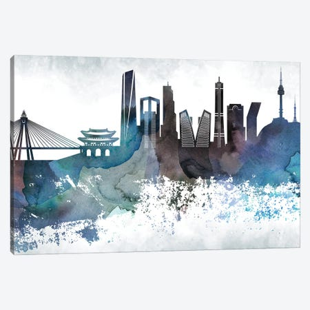 Seoul Bluish Skyline Canvas Print #WDA715} by WallDecorAddict Canvas Art