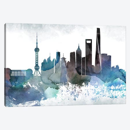 Shanghai Bluish Skyline Canvas Print #WDA716} by WallDecorAddict Canvas Wall Art