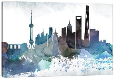 Shanghai Bluish Skyline Canvas Art Print