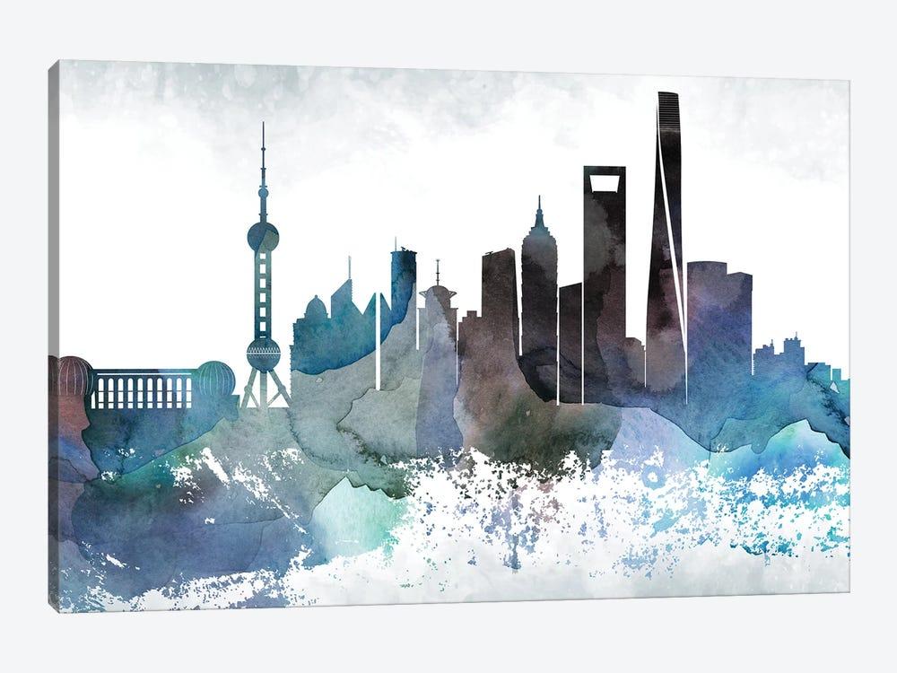 Shanghai Bluish Skyline by WallDecorAddict 1-piece Canvas Print