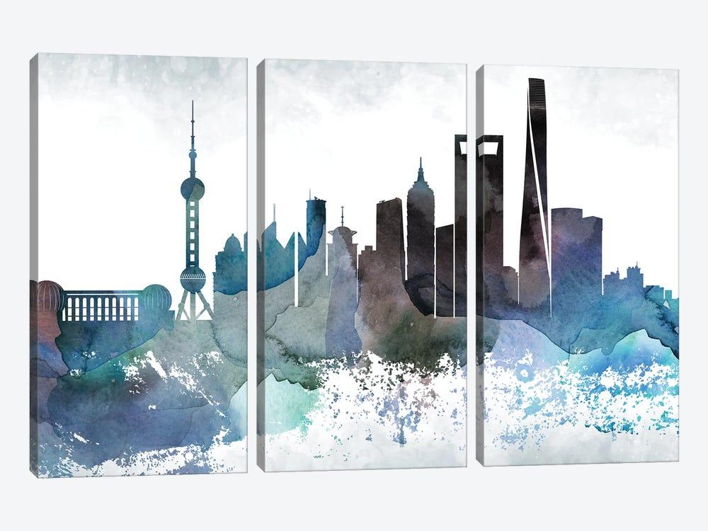 Shanghai Bluish Skyline by WallDecorAddict 3-piece Art Print
