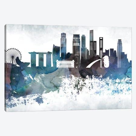 Singapore Bluish Skyline Canvas Print #WDA717} by WallDecorAddict Canvas Wall Art