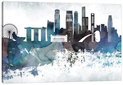 Singapore Bluish Skyline Canvas Art Print