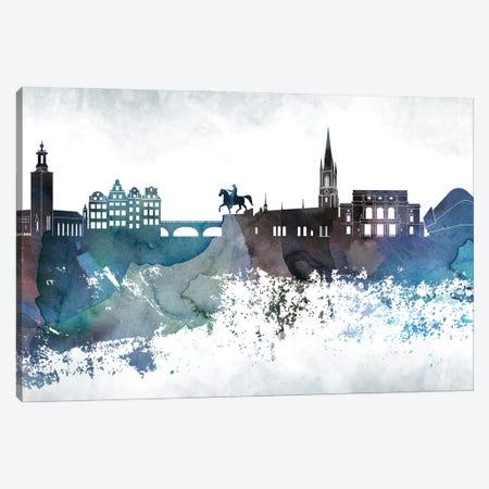 Stockholm Bluish Skyline Canvas Print #WDA718} by WallDecorAddict Canvas Art Print