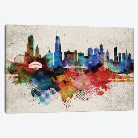 Chicago Abstract Canvas Print #WDA71} by WallDecorAddict Canvas Artwork