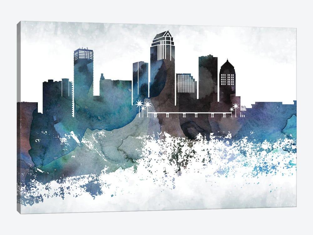 Tampa Bluish Skyline by WallDecorAddict 1-piece Canvas Artwork