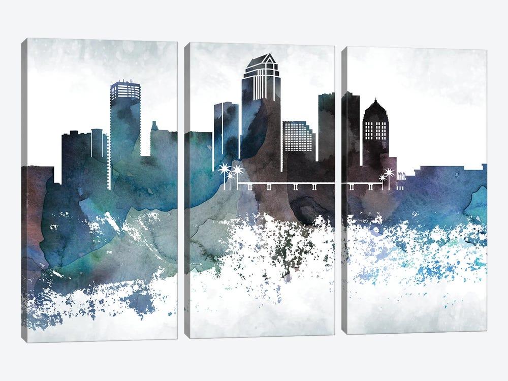 Tampa Bluish Skyline by WallDecorAddict 3-piece Canvas Artwork