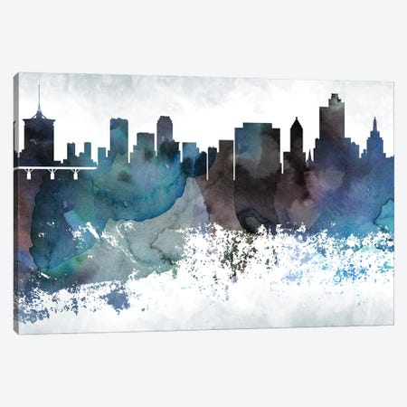 Tulsa Bluish Skyline Canvas Print #WDA723} by WallDecorAddict Canvas Artwork